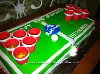 Homemade Beer Pong Birthday Cake