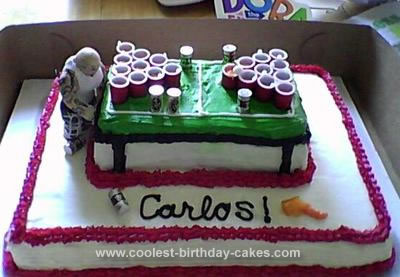 Homemade Beer Pong Cake