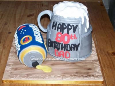 Astounding Coolest Beer Tankard And Beer Can Birthday Cake Personalised Birthday Cards Veneteletsinfo