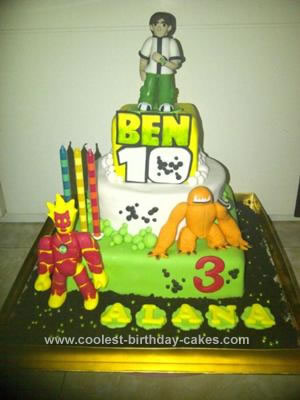Homemade Ben 10 and Aliens Birthday Cake