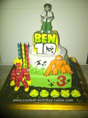Homemade Ben 10 and Aliens Birthday Cake