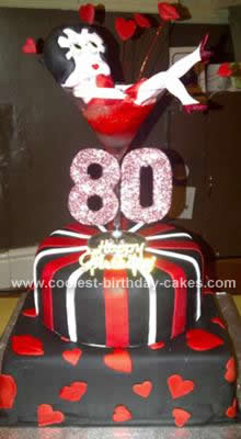 Coolest Homemade Betty Boop Birthday Cake for an 80th Birthday Party
