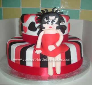 Cute Homemade Betty Boop Birthday Cake
