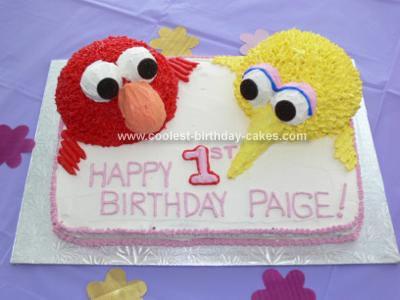 Big Bird And Elmo Birthday Cake