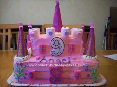 Homemade Big Pink Castle Birthday Cake