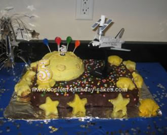 Homemade Birthday Space Mission Cake