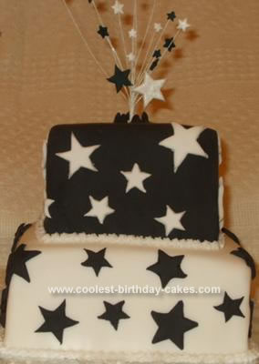 Homemade Black and White Star Birthday Cake