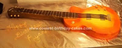 Black Electric Guitar Birthday Cake Design