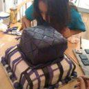 Homemade Black, Purple and White Birthday Cake