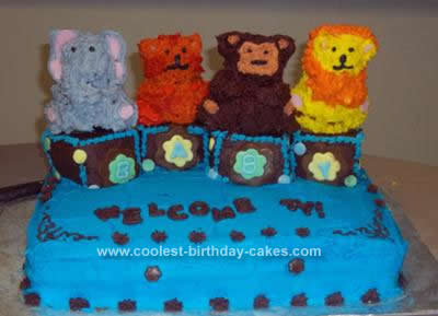 Homemade  Blocks Animals Baby Shower Cake