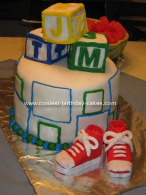 Homemade Blocks Baby Shower Cake