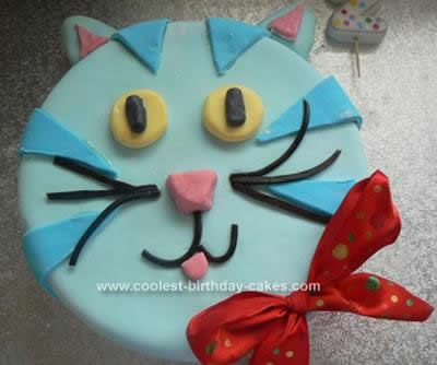Cool Homemade Blue Cat Birthday Cake