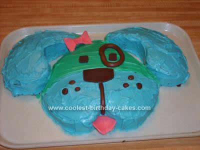 Homemade Blue Dog Birthday Cake Design