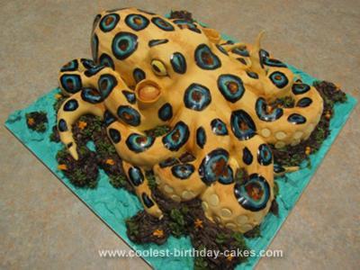 Swell Coolest Blue Ringed Octopus Cake Funny Birthday Cards Online Inifodamsfinfo
