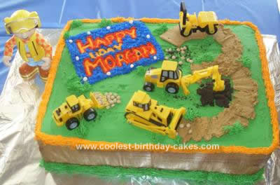 Fantastic Easy Homemade Bob The Builder Scene Birthday Cake Funny Birthday Cards Online Elaedamsfinfo