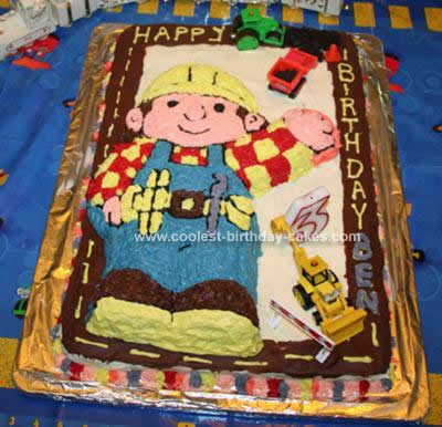 Homemade Bob the Builder Under Construction Cake