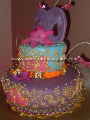 Homemade Bollywood Bling Henna Design Cake