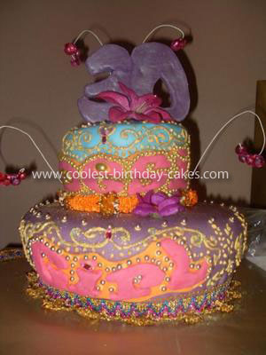 Homemade Bollywood Bling Henna Design Cake