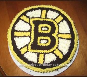 Homemade Boston Bruins Hockey Cake