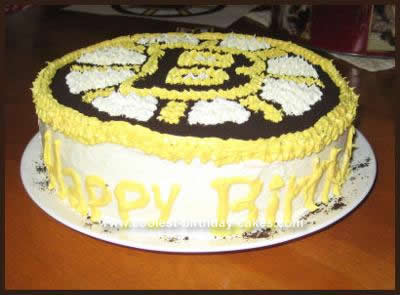 Homemade Boston Bruins Hockey Cake