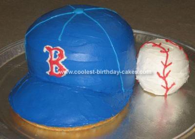 Homemade Boston Red Socks Cap Birthday Cake