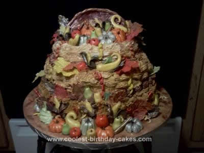 Homemade Bountiful Harvest Thanksgiving Cake