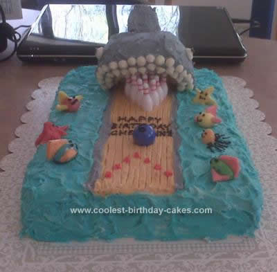 Homemade Bowling Alley Shark Birthday Cake Design