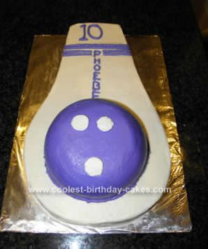 Homemade Bowling Ball & Pin Cake