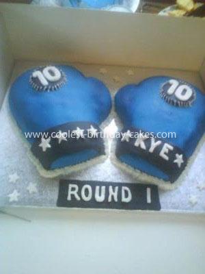 Homemade Boxing Gloves Cake