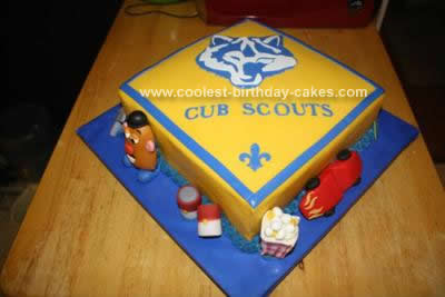 Homemade Boy Scout Blue and Gold Banquet Cake