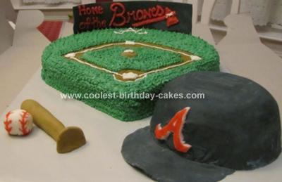 Homemade  Braves Baseball Cake