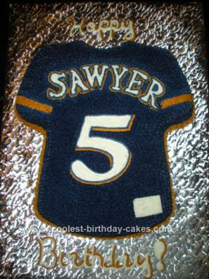Homemade Brewers Jersey Shirt Cake