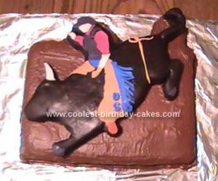 Homemade Bucking Bull Cake