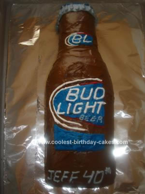 Homemade Bud Light Beer Bottle Cake