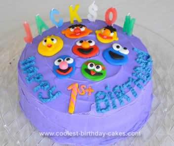 Homemade Budget Sesame Street Birthday Cake
