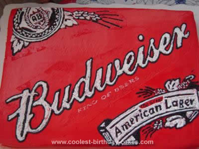 Homemade Budweiser Birthday Cake