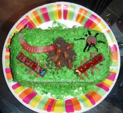Homemade Bugs in Grass Cake