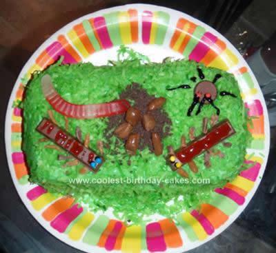 Homemade Bugs in Grass Cake
