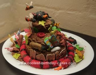 Homemade Bugs, Spiders and Snake Garden Cake
