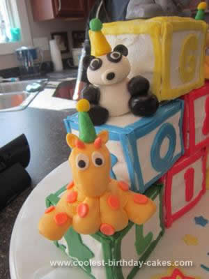 Homemade Building Block Birthday Cake