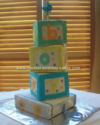 Homemade Building Blocks Baby Cake