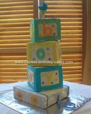 Homemade Building Blocks Baby Cake