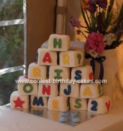 Homemade Building Blocks Cake