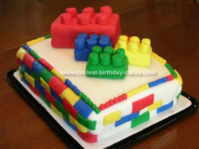 Homemade Building Bricks Cake