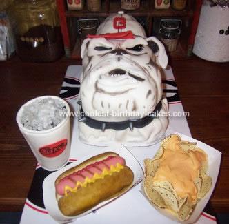 Homemade  Bulldog Birthday Cake