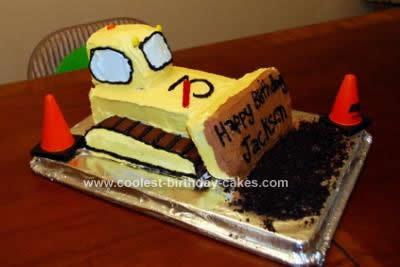 Homemade Bulldozer Birthday Cake