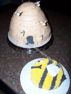 Homemade Bumble Bee and Bee Hive Cake