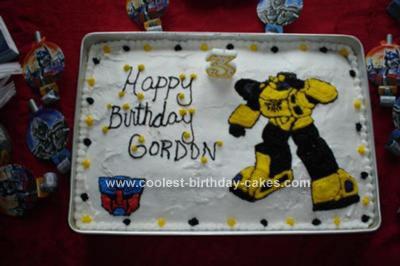 Homemade Bumble Bee Transformers Cake