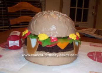 Homemade Burger Birthday Cake