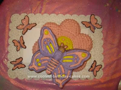 Homemade Butterflies and Daisies Birthday Cake